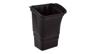 The Rubbermaid Commercial Executive Series Service Cart Refuse Bin is a lipped bin designed to rest on the edge of a service cart.