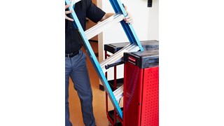 The Rubbermaid Commercial Ladder Cart with Cabinet provides greater mobility, enhanced access, safe ladder handling, and minimal storage requirements.