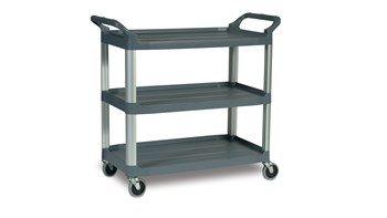 The Rubbermaid Commercial Xtra Utility Cart, 3 Shelf, is a versatile, durable cart able to perform a wide variety of tasks.