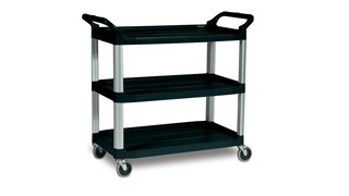 The Rubbermaid Commercial Xtra Utility Cart functions in front and back of house applications.