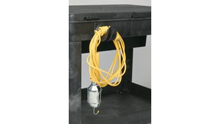 The Rubbermaid Commercial Utility Cart Hook Kit contains four, heavy duty hooks that attach to all Rubbermaid lipped shelf carts.  Hooks provide space to hold electrical cords or supplies for easy access.  Hardware included.