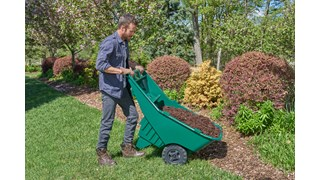 The Rubbermaid Commercial Products Roughneck Lawn Cart is an easy-to-lift and dump wheelbarrow with ergonomically placed handles for added comfort.