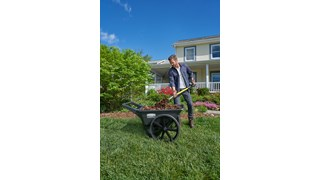 The Rubbermaid Commercial Big Wheel Cart is a professional-grade wheel barrow.