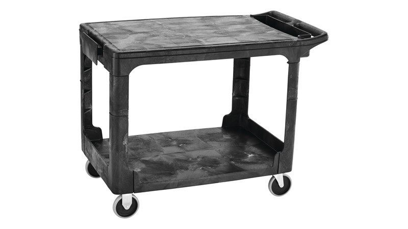 The Rubbermaid Commercial Heavy Duty 2 Shelf Utility Cart.  High-density structural foam construction makes this cart sturdy, lightweight, and maneuverable.
