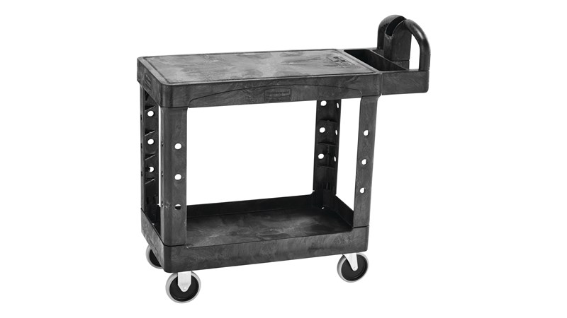 Heavy-Duty Utility Cart with Flat Shelf transports materials, supplies, and heavy loads securely with up to 500 lbs. load capacity. The flat shelf provides a large work surface for oversized loads.