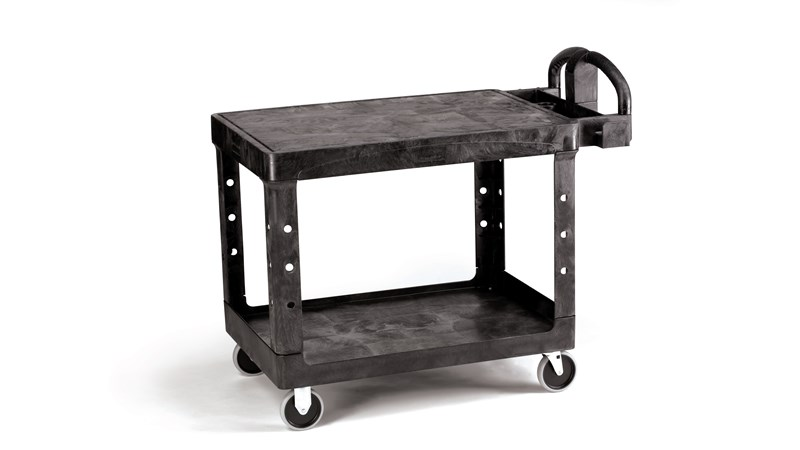 The Rubbermaid Commercial Heavy-Duty Utility Cart, 2 Shelf, Medium, is a versatile, durable cart that can transport up to 500 lbs.