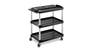 The Rubbermaid Commercial Utility Cart features three shelves.