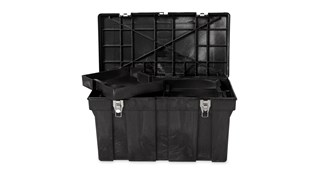 The Rubbermaid Commercial professional grade tool box for commercial/industrial use.  Made of sturdy structural foam construction that won't rust, dent, chip, or peel.