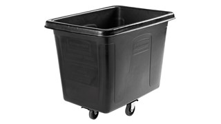 """The Rubbermaid Commercial 1867537 Executive Series 16 Cubic Feet Cube Truck, 500 lbs load capacity, 43.7"""" x 31"""" x 37"""", Quiet Casters, Black."""