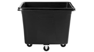 "The Rubbermaid Commercial 1867537 Executive Series 16 Cubic Feet Cube Truck, 500 lbs load capacity, 43.7"" x 31"" x  37"", Quiet Casters, Black."
