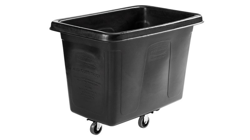 "The Rubbermaid Commercial 1867538 Executive Series 12 Cubic Feet Cube Truck, 43"" x 28"" x 33"", 400 lbs load capacity,, Quiet Casters, Black."