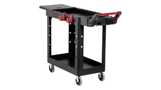 The Heavy Duty Adaptable Cart from Rubbermaid Commercial provides superior versatility for tackling whatever task is at hand.  It reduces the need for time-consuming user modifications with a variety of integrated features including: an ergonomic adjustable handle with four positions for maximum comfort, a flip-up shelf, locking casters, and numerous storage features designed to help organize tools and small parts.