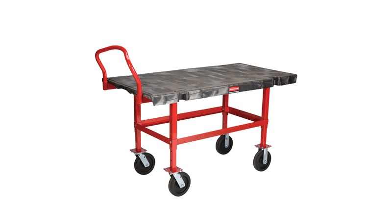 """The Rubbermaid Commercial Work Height Platform Truck 30""""X60"""" with 8""""TPR casters, 2000 lb. capacity"""