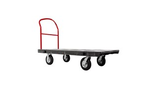 The Rubbermaid Commercial Heavy-Duty Platform Truck is constructed from Duramold resin and metal composite for durability and strength. The trolley has a 2,500-pound capacity.
