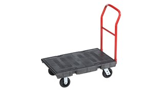 The Rubbermaid Commercial Heavy-Duty Platform Truck is constructed from Duramold resin and metal composite for durability and strength. The trolley has a 1000-pound capacity.