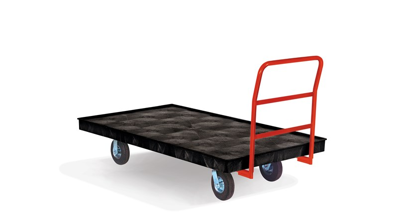 "The Rubbermaid Commercial Heavy Duty Platform Truck 40""X70"" with 6""TPR casters, 1000 lb. capacity. Ideal for moving large, heavy, oversized loads in a variety of environments from retail to construction."