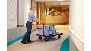 The Rubbermaid Commercial Heavy-Duty Platform Truck is constructed from Duramold resin and metal composite for durability and strength. The platform truck cart has a 2,000-pound capacity.