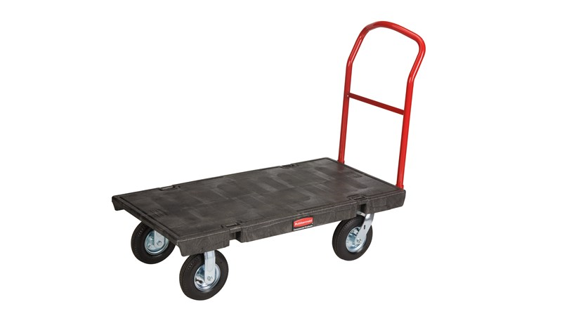 "The Rubbermaid Commercial Heavy Duty Platform Truck 40""X70"" with 8""PNEUMATIC casters, 1000 lb. capacity"