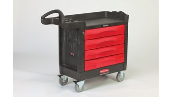 The TradeMaster Cart with 4 Drawers is a complete tool storage and mobile workbench system, with shelving and cabinet configurations to meet any storage needs.