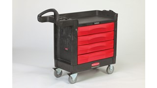 The Rubbermaid Commercial TradeMaster Utility Cart easily transports tools and supplies where you need them.