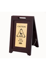 "Executive Series™ Wooden Multilingual ""Caution"" Sign, 2 Sided, 22"", Gold"