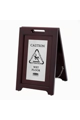 """Executive Series™ Wooden Multilingual """"Caution"""" Sign, 2 Sided, 22"""", Silver"""