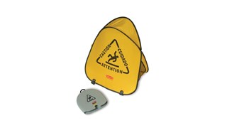 Large cone folds with a simple twist and slides into compact shell for handy storage. Multilingual safety communication utilizes ANSI/OSHA-compliant color and graphics.
