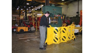 Easy to use, easy to see, easy to move, and easy to store mobile barrier uses articulating panels to extend to 13 feet long. It can be used straight, curved or circular. ANSI/OSHA-compliant colors.