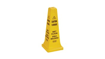 "The Rubbermaid Commercial Multi-Lingual Safety Cone with ""Caution Wet Floor"" Imprint is a highly visible hazard protection sign. Features the 'caution' sign to warn pedestrians of potential dangers."