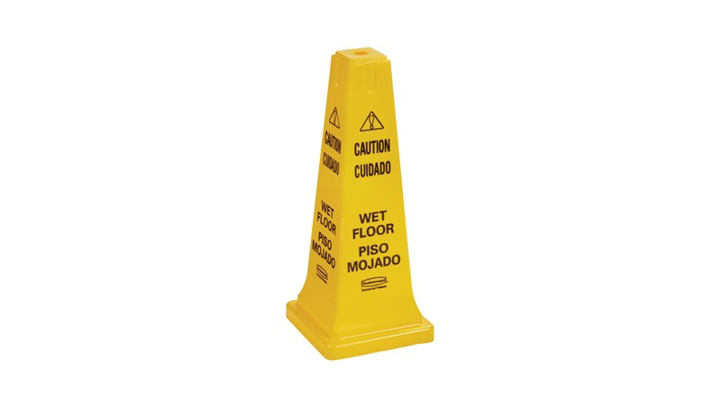 """The Rubbermaid Commercial Multi-Lingual Safety Cone with """"Caution Wet Floor"""" Imprint is a highly visible hazard protection sign. Features the 'caution' sign to warn pedestrians of potential dangers."""