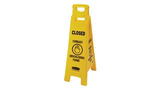 "Lightweight ""Closed"" sign is 4-sided for effective multilingual safety communication and utilizes ANSI/OSHA-compliant color and graphics."