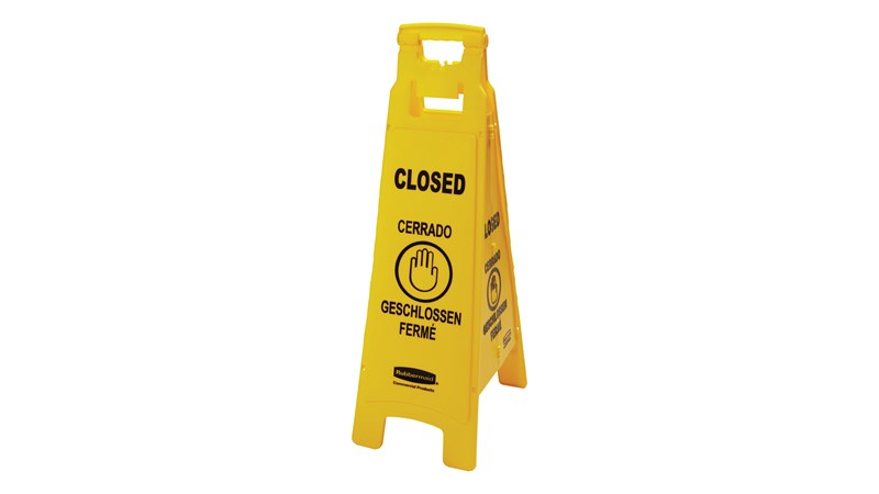 """Lightweight """"Closed"""" sign is 4-sided for effective multilingual safety communication and utilizes ANSI/OSHA-compliant color and graphics."""