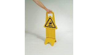"""Unique """"no tip"""" design is 2-sided for effective multilingual safety communication that utilizes ANSI/OSHA-compliant color and graphics."""