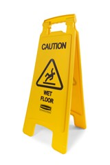 """""""Caution Wet Floor"""" Sign, 2 Sided, 26"""", Yellow"""