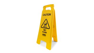 "Lightweight ""Caution Wet Floor"" sign is 2-sided for effective safety communication and utilizes ANSI/OSHA-compliant color and graphics."
