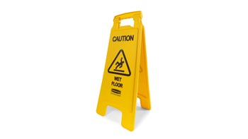"""Lightweight """"Caution Wet Floor"""" sign is 2-sided for effective safety communication and utilizes ANSI/OSHA-compliant color and graphics."""