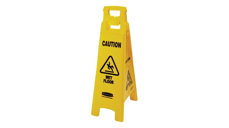 "This lightweight ""Caution Wet Floor"" sign is 4-sided for effective safety communication and utilizes ANSI/OSHA-compliant color and graphics."