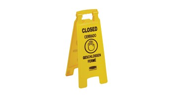 """Floor Sign with Multilingual """"Closed"""" Imprint FG611278 is a standard, two sided, quality floor sign."""