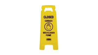 "Floor Sign with Multilingual ""Closed"" Imprint FG611278 is a standard, two sided, quality floor sign."