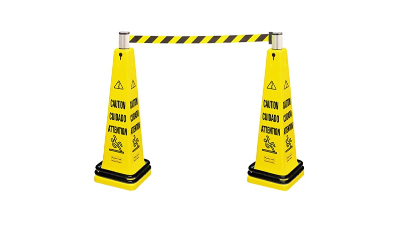 Barricade system is a complete, expandable system for quick deployment and effective multilingual safety communication. ANSI/OSHA- compliant color and graphics.