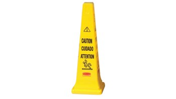 "Highly visible, 36"", bright yellow hazard protection cone. Multilingual safety communication utilizes ANSI/OSHA-compliant color."