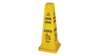 "Highly visible, 25"", bright yellow hazard protection cone. Multilingual safety communication utilizes ANSI/OSHA-compliant color."