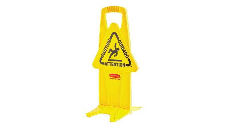 "Unique ""no tip"" design is 2-sided for effective multilingual safety communication that utilizes ANSI/OSHA-compliant color and graphics."
