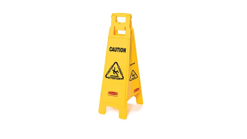 "Lightweight ""Caution"" sign is 4-sided for effective multilingual safety communication and utilizes ANSI/OSHA-compliant color and graphics."