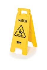 """Multilingual """"Caution"""" Sign, 2 Sided, 26"""", Yellow"""