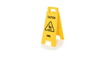 """Lightweight """"Caution"""" sign is 2-sided for effective multilingual safety communication and utilizes ANSI/OSHA-compliant color and graphics."""