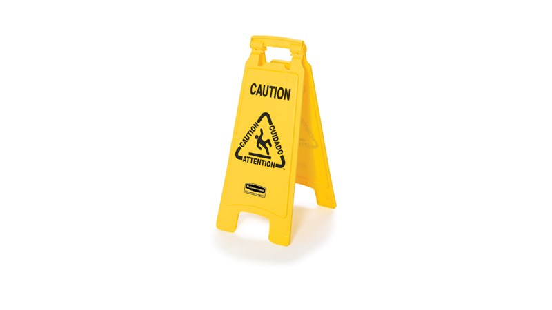 "Lightweight ""Caution"" sign is 2-sided for effective multilingual safety communication and utilizes ANSI/OSHA-compliant color and graphics."