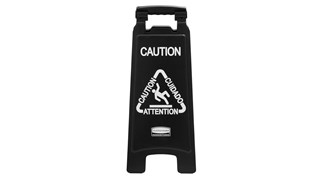 "Sleek, lightweight ""Caution"" sign is 2-sided for effective multilingual safety communication that won't disrupt a building's image."