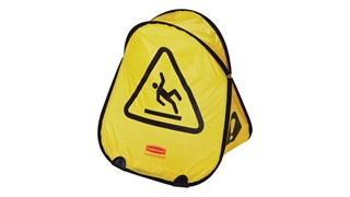 Large cone folds with a simple twist and slides into compact shell for handy storage. International Wet Floor Symbol communication utilizes ANSI/OSHA-compliant color and graphics.