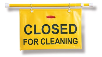 """""""Closed For Cleaning"""" hanging sign is on an extendable pole to block doorways and entrances up to 50"""" wide and utilizes ANSI/OSHA-compliant color"""